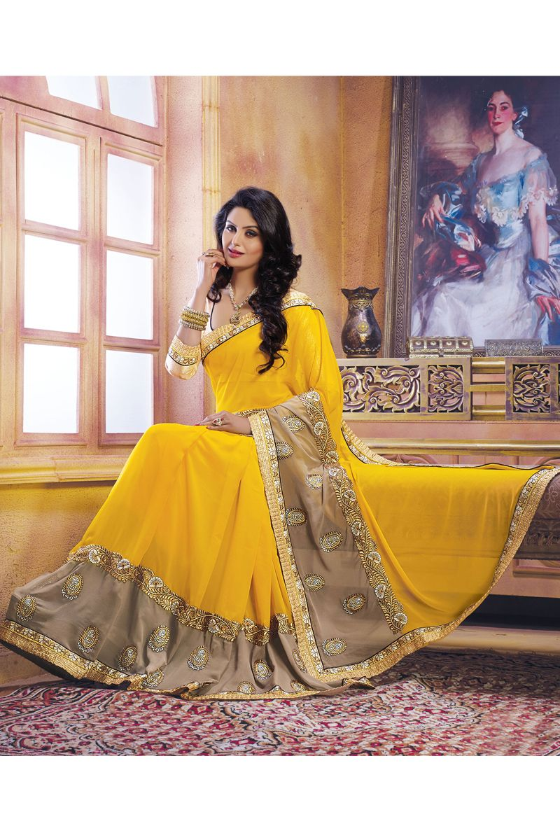 197fb491d4 Yellow Color Designer Party Wear Sarees From Easysarees. | Designer ...