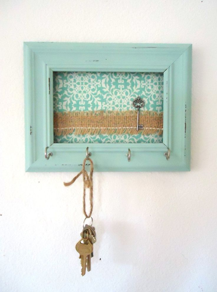 With copy of house key painted and in frame (?) Key Holder-Wall Hook Shabby  Chic Frame- Home Decor-Organization Tiffany Blue 5 Silver Hooks- House  warming ...