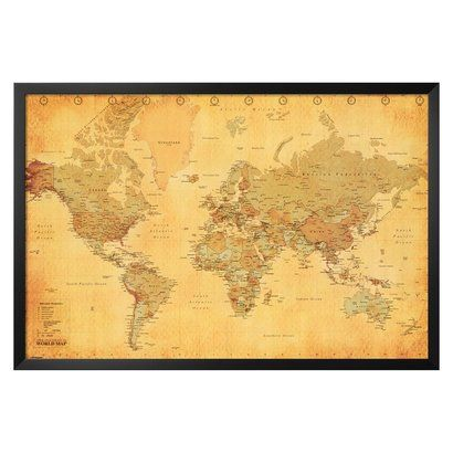 Art vintage world map framed poster map frame fireplace art vintage world map framed poster can be set above the fireplace mantel for decorative appeal gumiabroncs Gallery