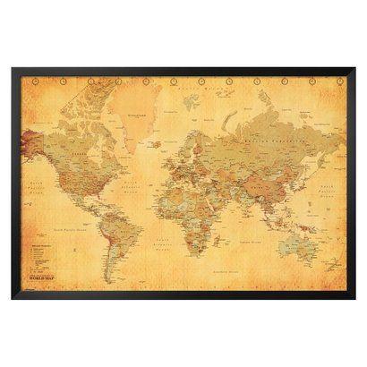 Art vintage world map framed poster map frame fireplace art vintage world map framed poster gumiabroncs Images