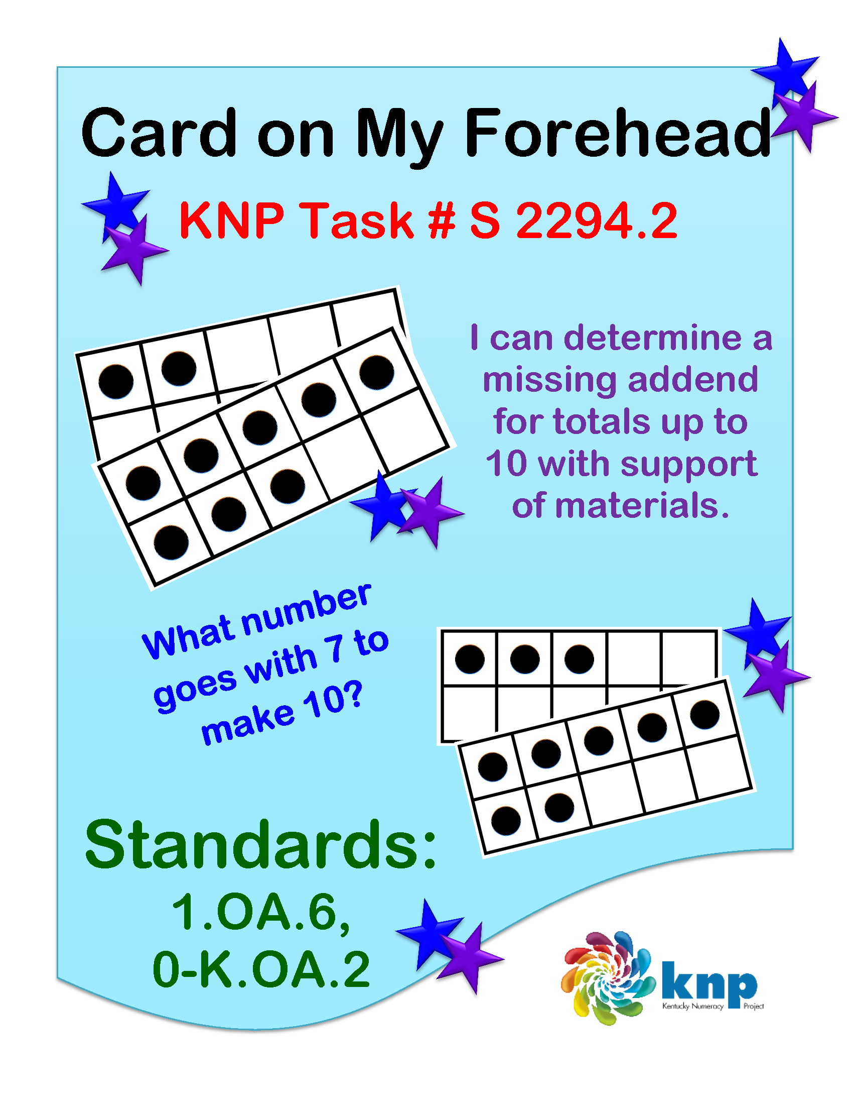 worksheet Addend card on my forehead determine a missing addend for totals up to 10