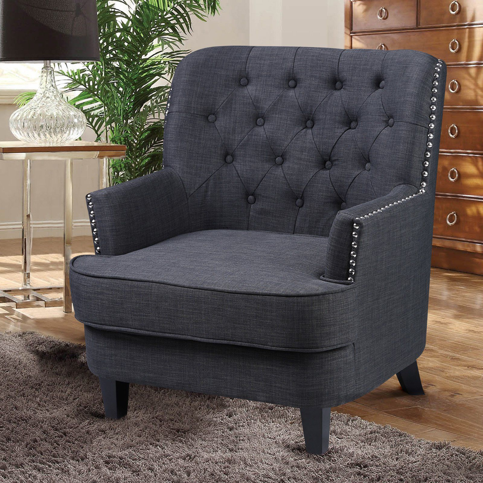 Best Master Furniture Campbell Tufted Fabric Accent Chair Charcoal