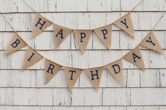 Navy Blue Birthday Decorations Happy Burlap Banner Bunting Custom B