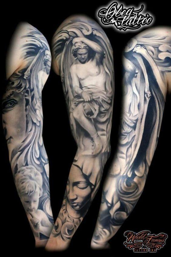 Vemos A Un Hombre Con El Tatuaje De Un Angel Caido Brazos Tatuados Tatuajes De Manga Religiosos Tatuajes Manga Completa