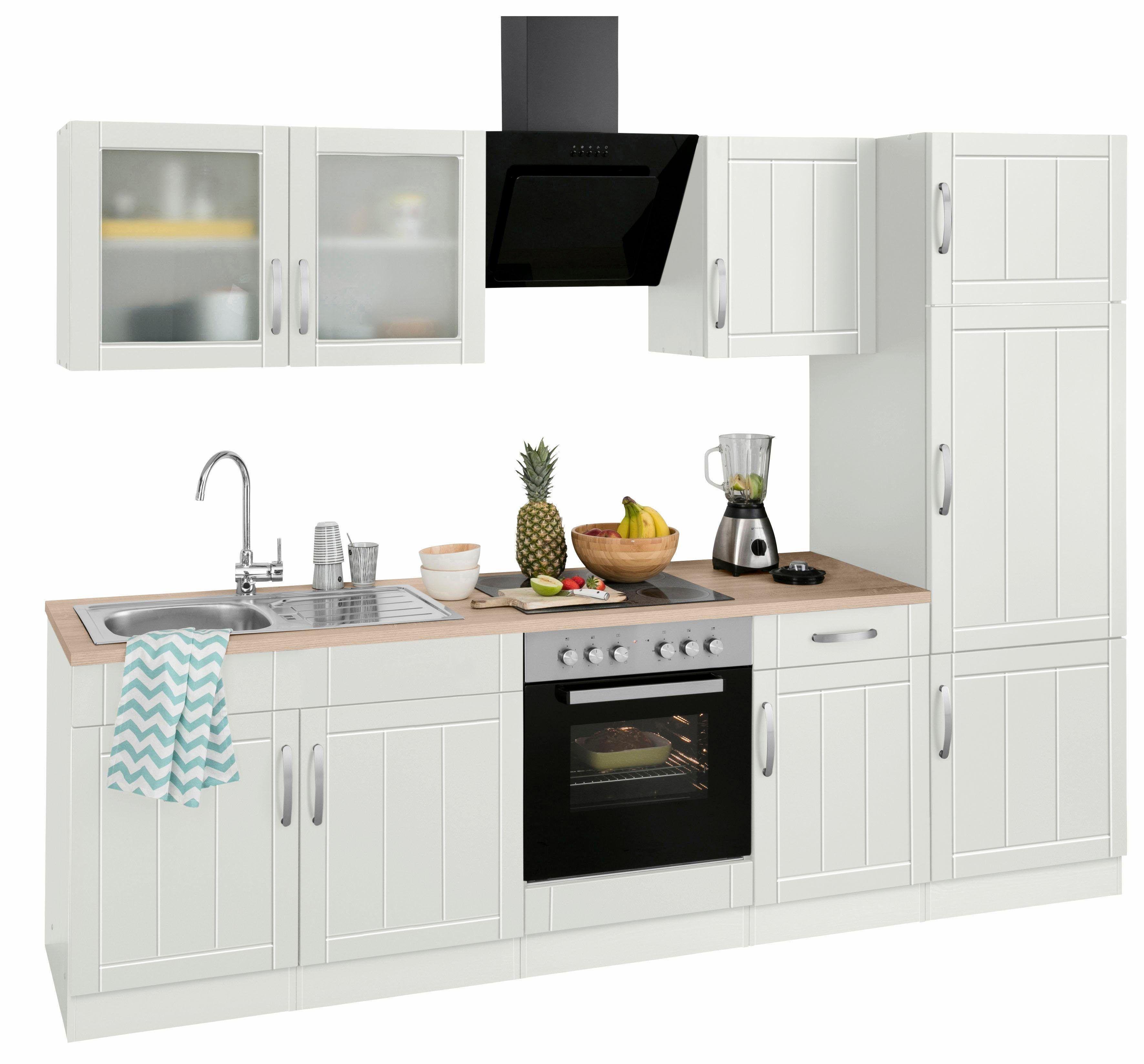 Küchenzeile mit E-Geräten weiß, mit Aufbauservice, »Lund«, Held