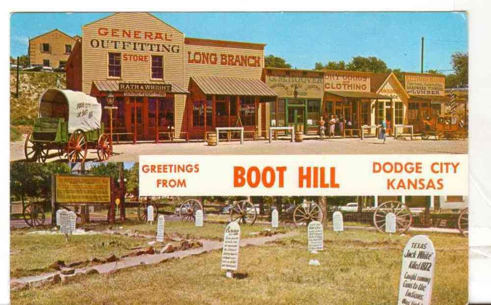 Undated Unused Postcard Greetings From Boot Hill Dodge City Kansas Ks 2 Views