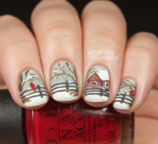 This Lady Does Amazing Nail Art I Love This Wontery Scene