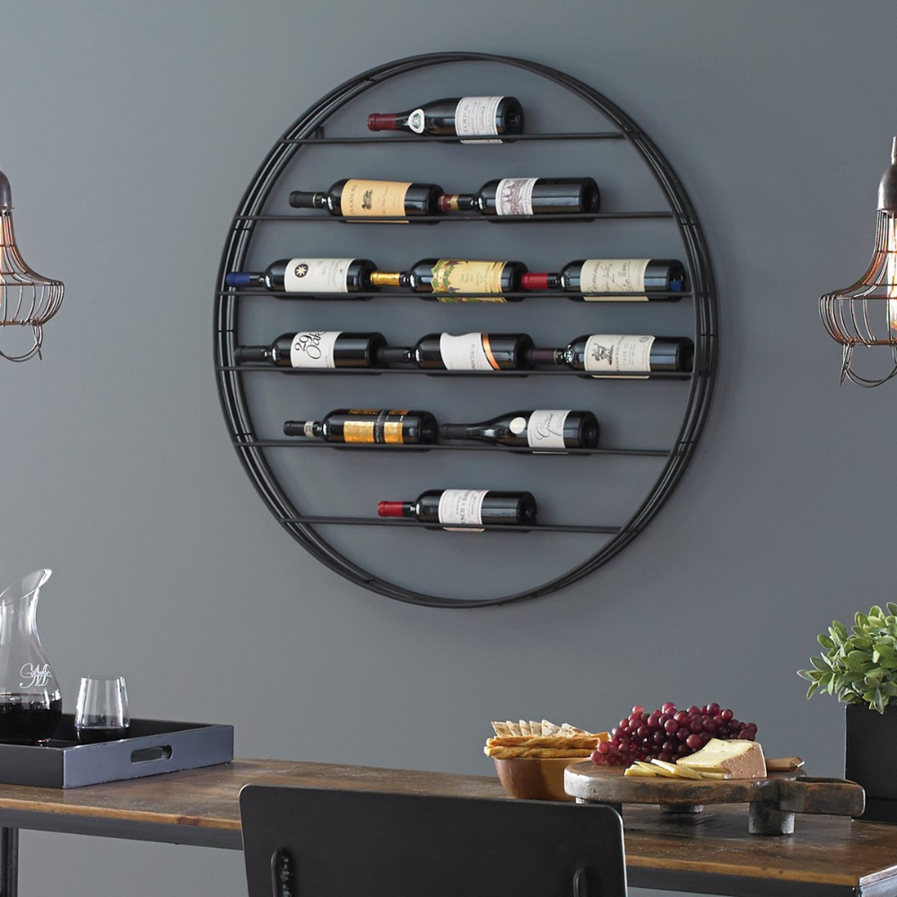 12 Bottle Label View Wall Wine Rack Wine Enthusiast Wine Rack Wall Wine Rack Design Wall Mounted Wine Rack