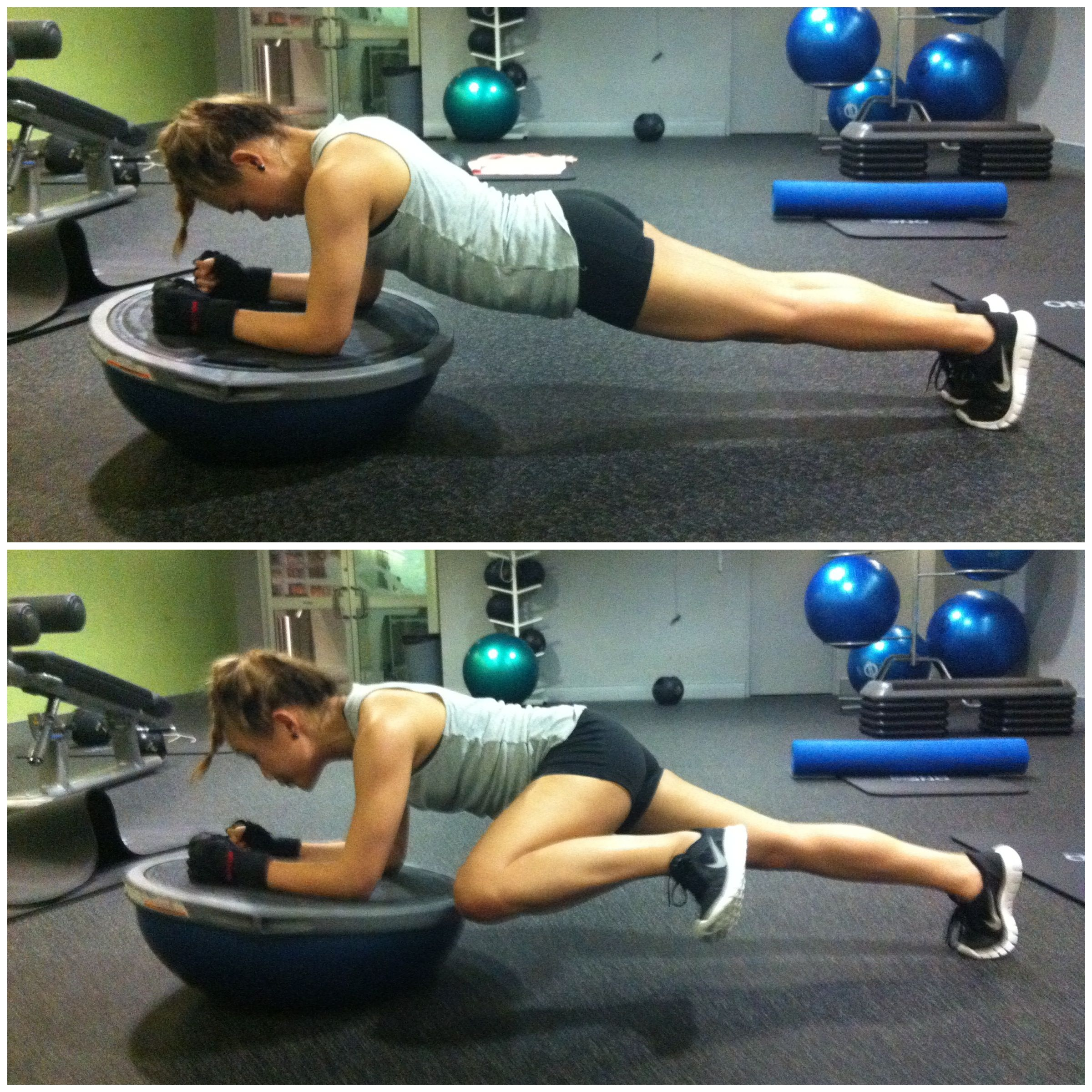 Plank Using Fit Ball And Bosu Ball: Plank With Kick On Bosu -- When I Get More Stable With The