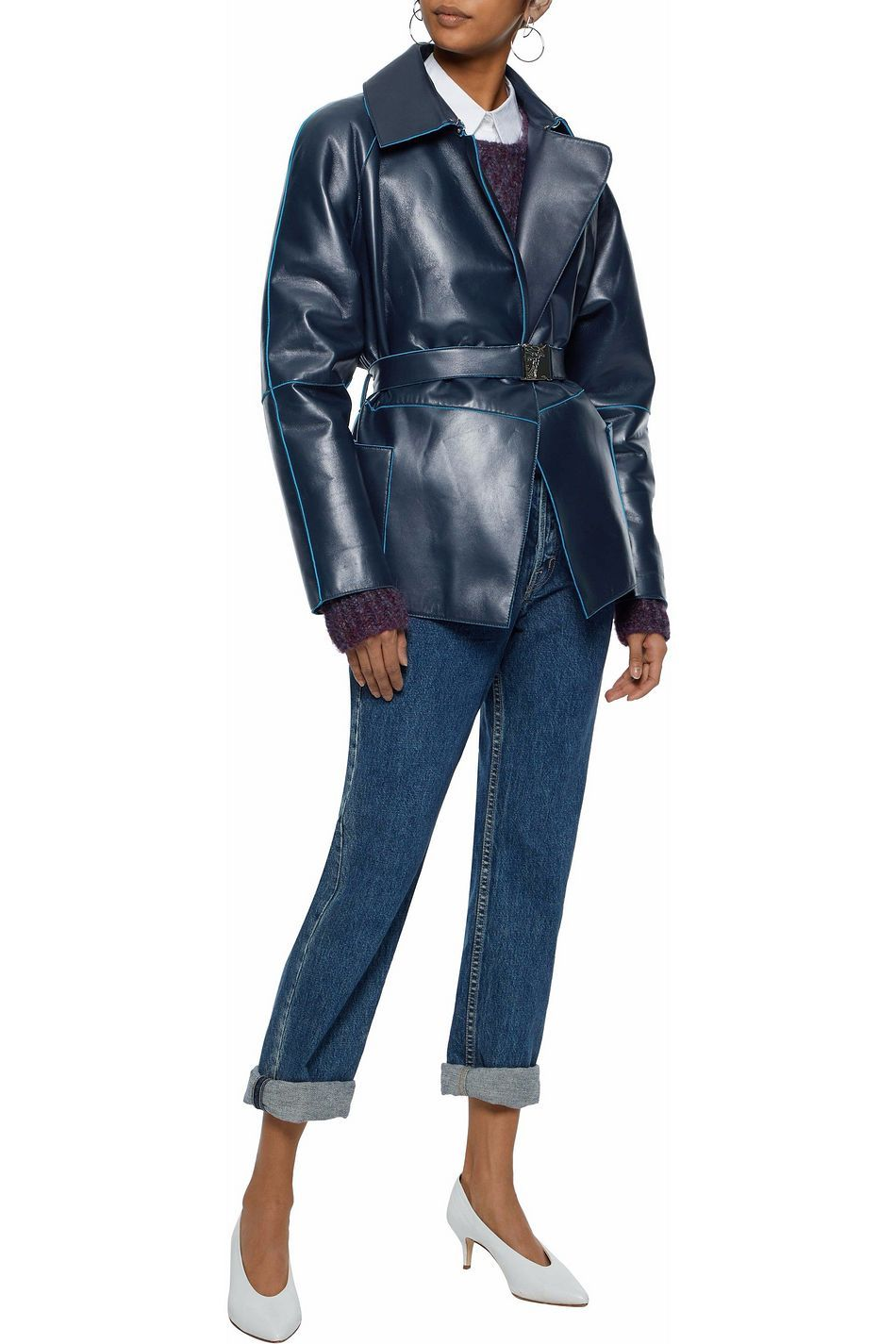 Midnight Blue Belted Leather Jacket Sale Up To 70 Off The Outnet Versace Collection The Outnet Leather Jackets For Sale Leather Jacket Jackets [ 1425 x 950 Pixel ]