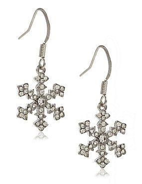 White Mix Snowflake Diamanté Drop Earrings
