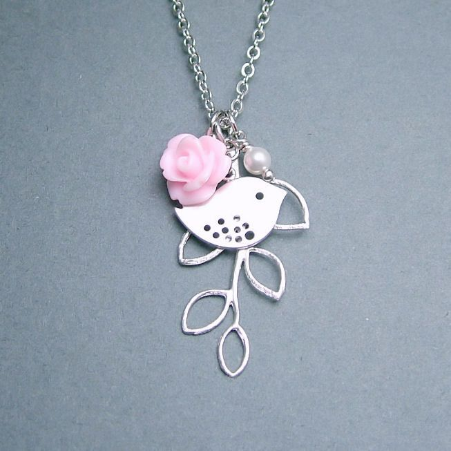 10% SALE - Bird Necklace, Pink Rose and Leafy Branch. $21.00, via Etsy.