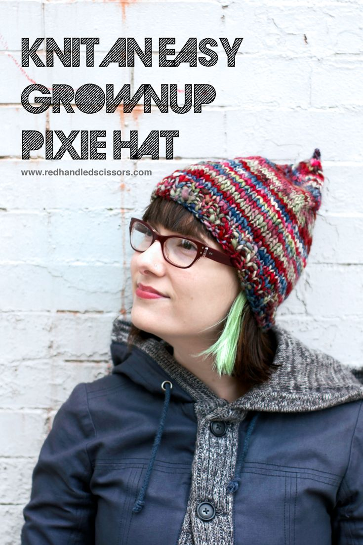 Knitting Pattern  Easy Grownup Pixie Hat  Knit a quick an cute adult-sized  pixie hat with my easy-to-make pixie hat pattern!  knitting  hats 57f62567ac56