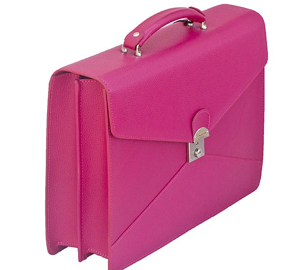 Luxury Leather Briefcase - Pink /Fuchsia | *PINK Office ...