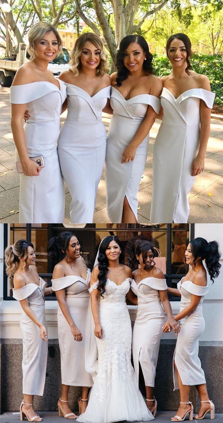 Elegant Off The Shoulder Short White Bridesmaid Dress White Bridesmaid Dresses Bodycon Bridesmaids Dresses Senior Prom Dresses