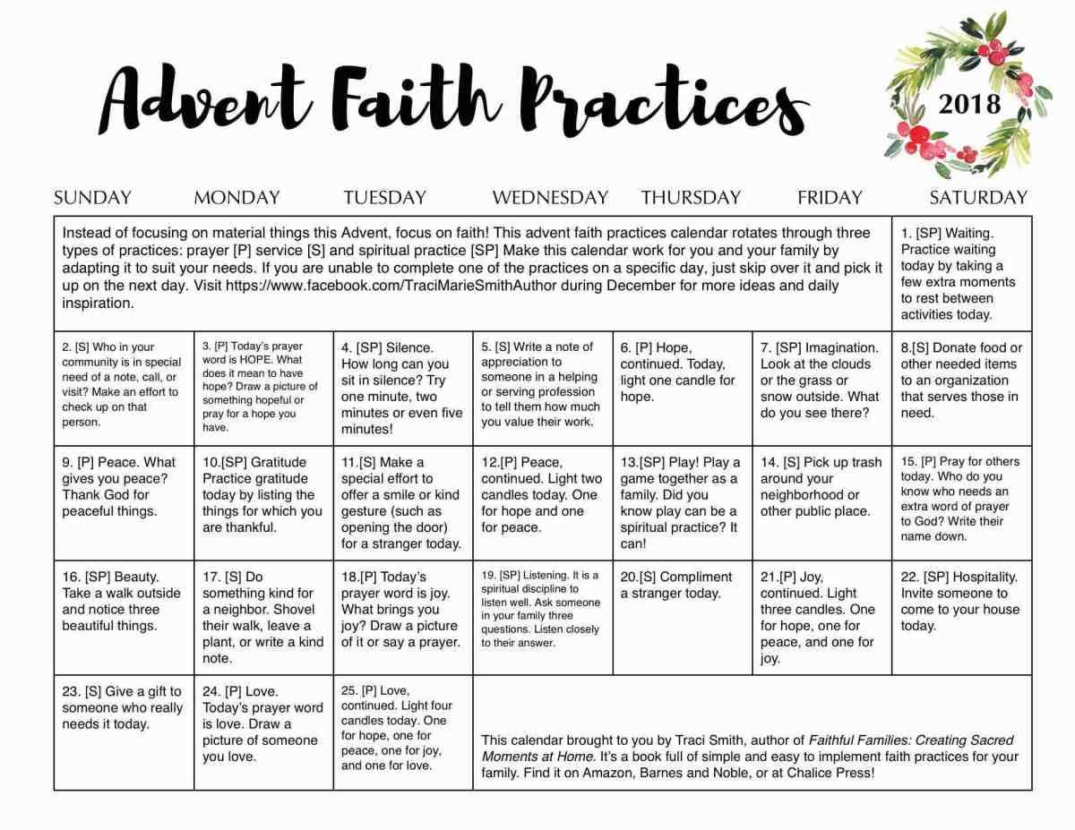 Free Advent Family Faith Practices Calendar Traci