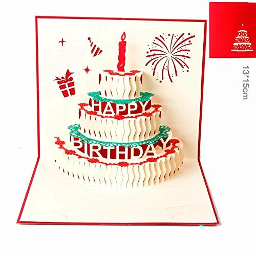 Paper Spiritz Birthday Card Of Candle And Cake 3d Pop Up Greeting Card Kit Postcard Matching Pop Up Card Templates Birthday Card Template Happy Birthday Cards