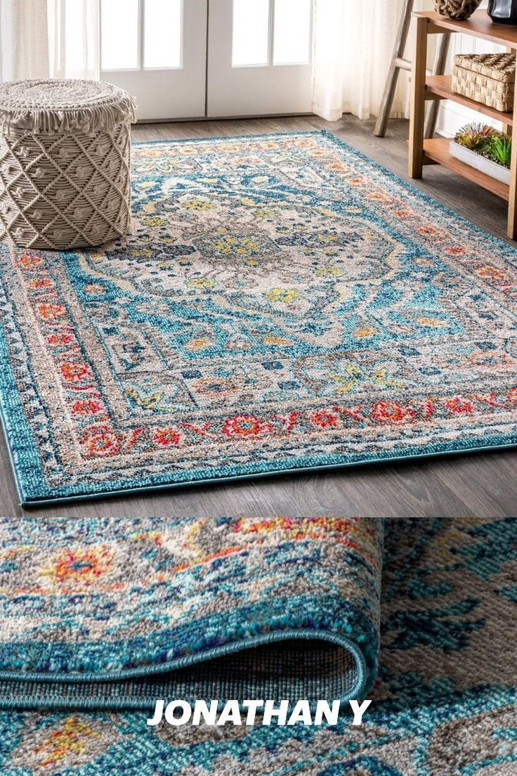 Old world style gets new life in a stunning aqua blue color in this bohemian rug inspired by the oriental masterpieces of antiquity. A large center medallion and thin border create an optical illusion that will make your space feel larger, all while creating a stunning accent for eclectic or modern decor. With only a 1/3