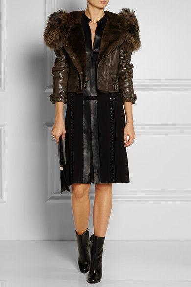 Belstaff                               Beaufort beaver-trimmed leather jacket