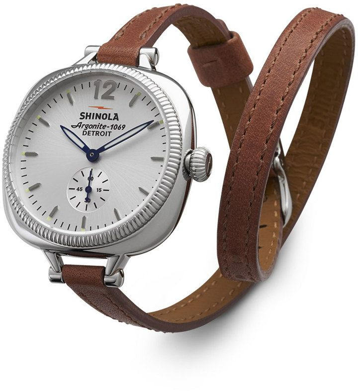 Shinola The Gomelsky Stainless Steel Watch with Double-Wrap Leather Strap, Red