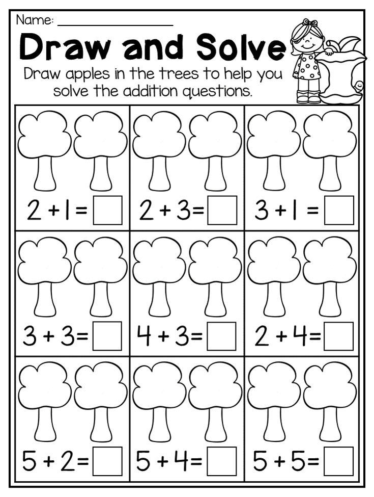 kindergarten picture addition worksheet this fall kindergarten math and literacy worksheet pack. Black Bedroom Furniture Sets. Home Design Ideas