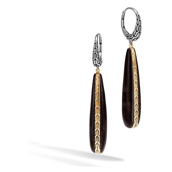 John Hardy Classic Chain Silver Drop Earrings with Ebony Wood xPyYJE42