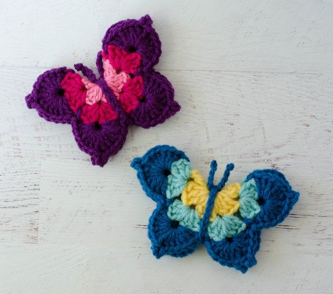 This crochet butterfly pattern is so cute!  I love how it comes together and it's a great yarn stash buster!
