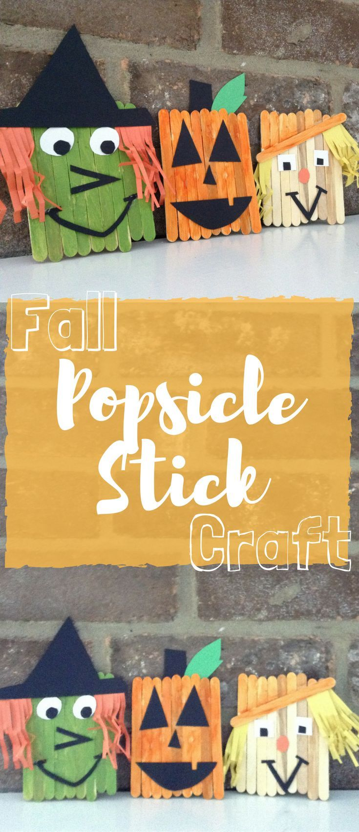 Fall Popsicle Stick Craft Fun fall activities, Scarecrows and Witches - Kids Halloween Decorations