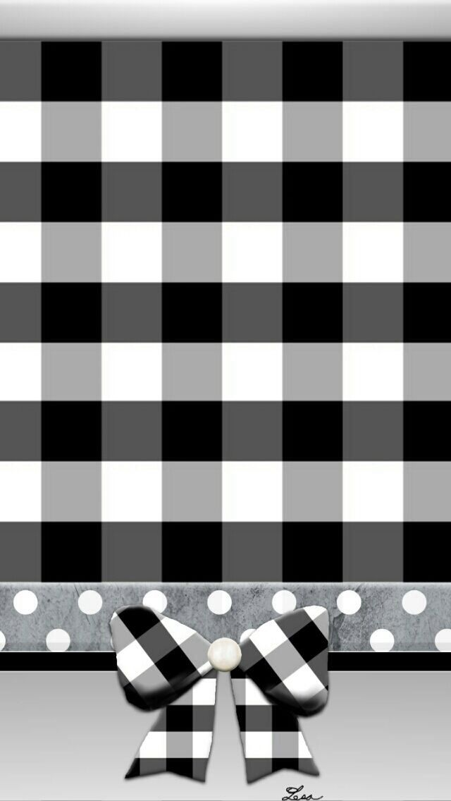 BLACK AND WHITE GINGHAM WITH BOW IPHONE WALLPAPER