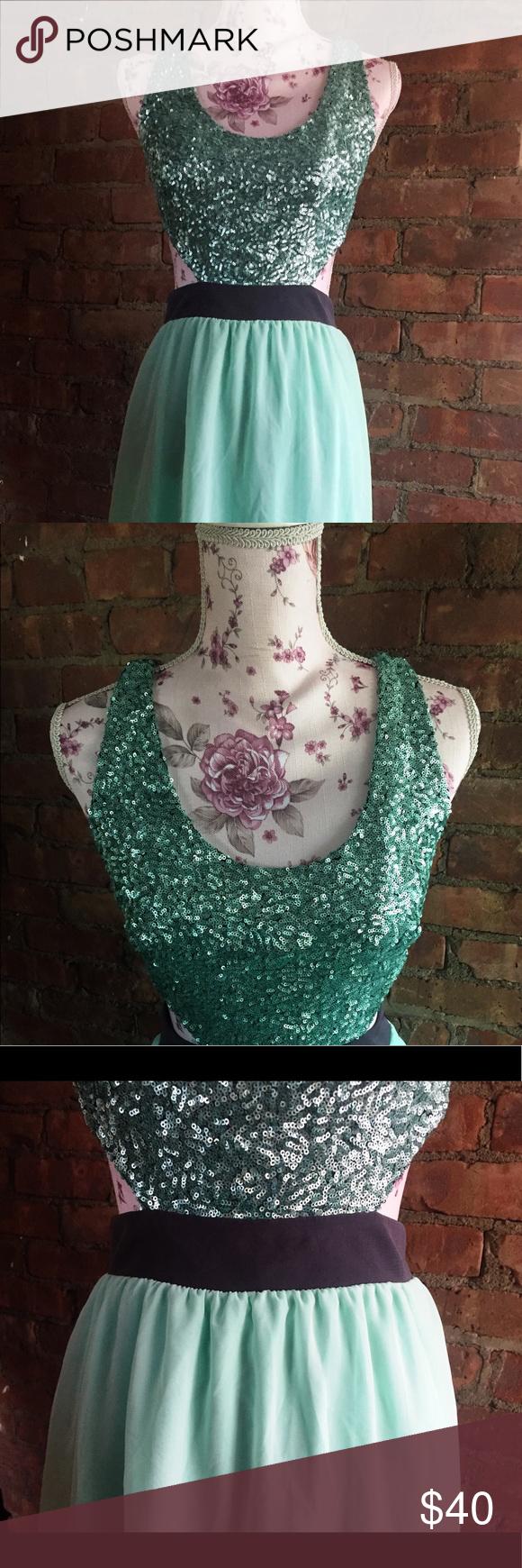 Modcloth sea foam green sequined mermaid dress A dress fit for a mermaid!! ✩ gorgeous sea foam green...
