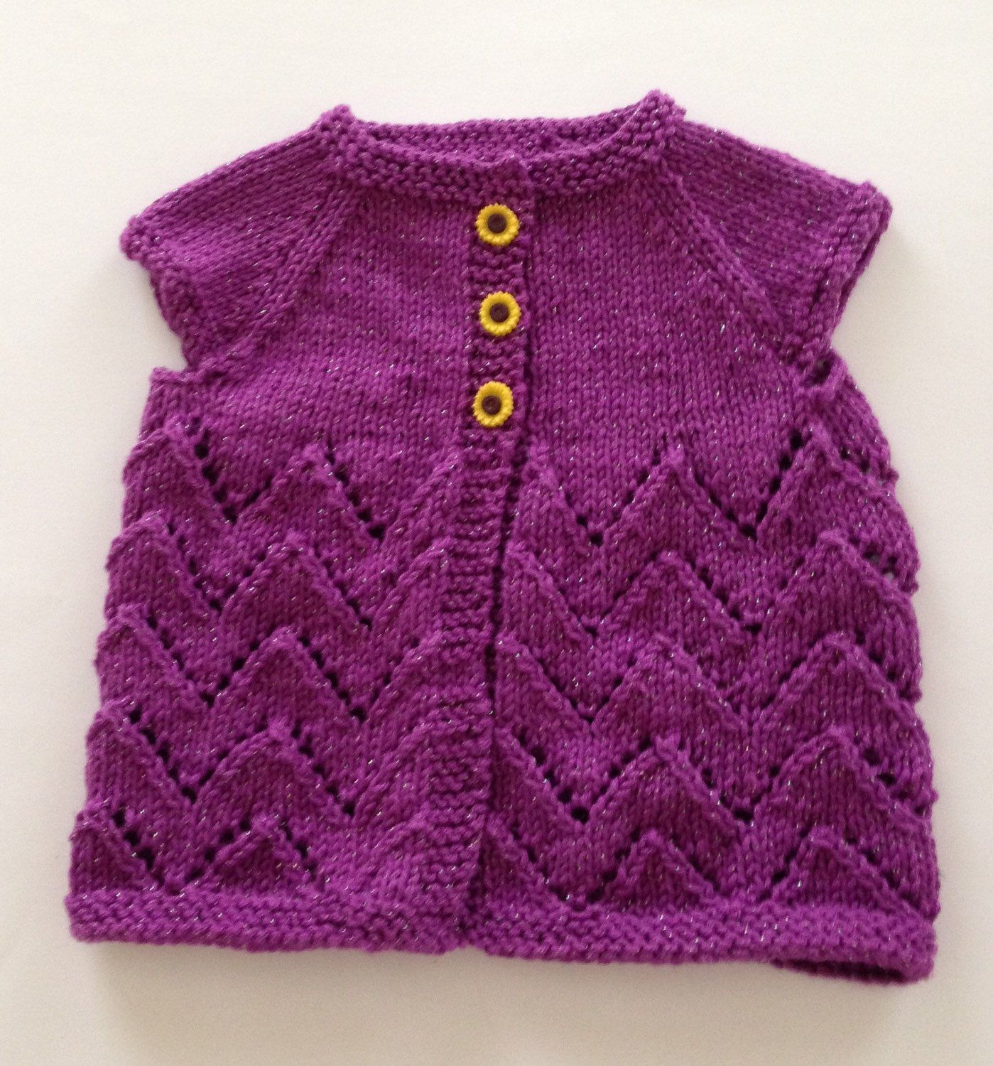 Glitter Purple Chevron Lace Knit Cardigan with Sunflower Buttons ...