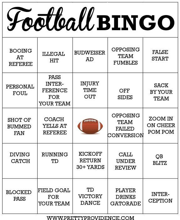 Free Football Bingo Cards To Print Perfect For Asuper Bowl Party