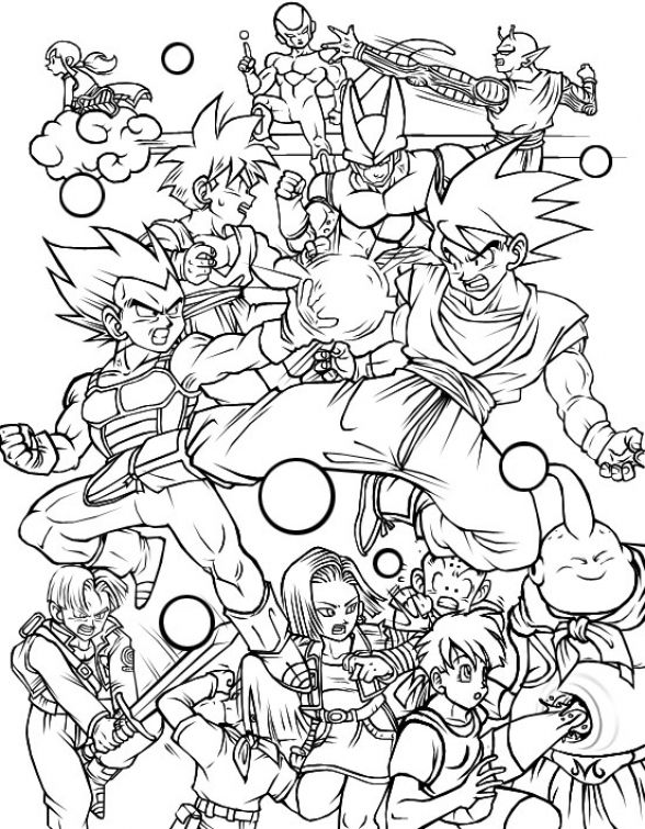 All Characters In Dragon Ball Z Free Printable Coloring Page Letscolorit Com Coloring Books Dragon Ball Image Cartoon Coloring Pages
