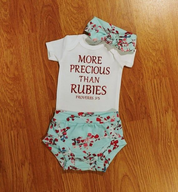 Photo of More Precious Than Rubies, Baby Girl Going Home Outfit, floral, bummies, diaper cover, take home, religious, baptism, Catholic, Christian