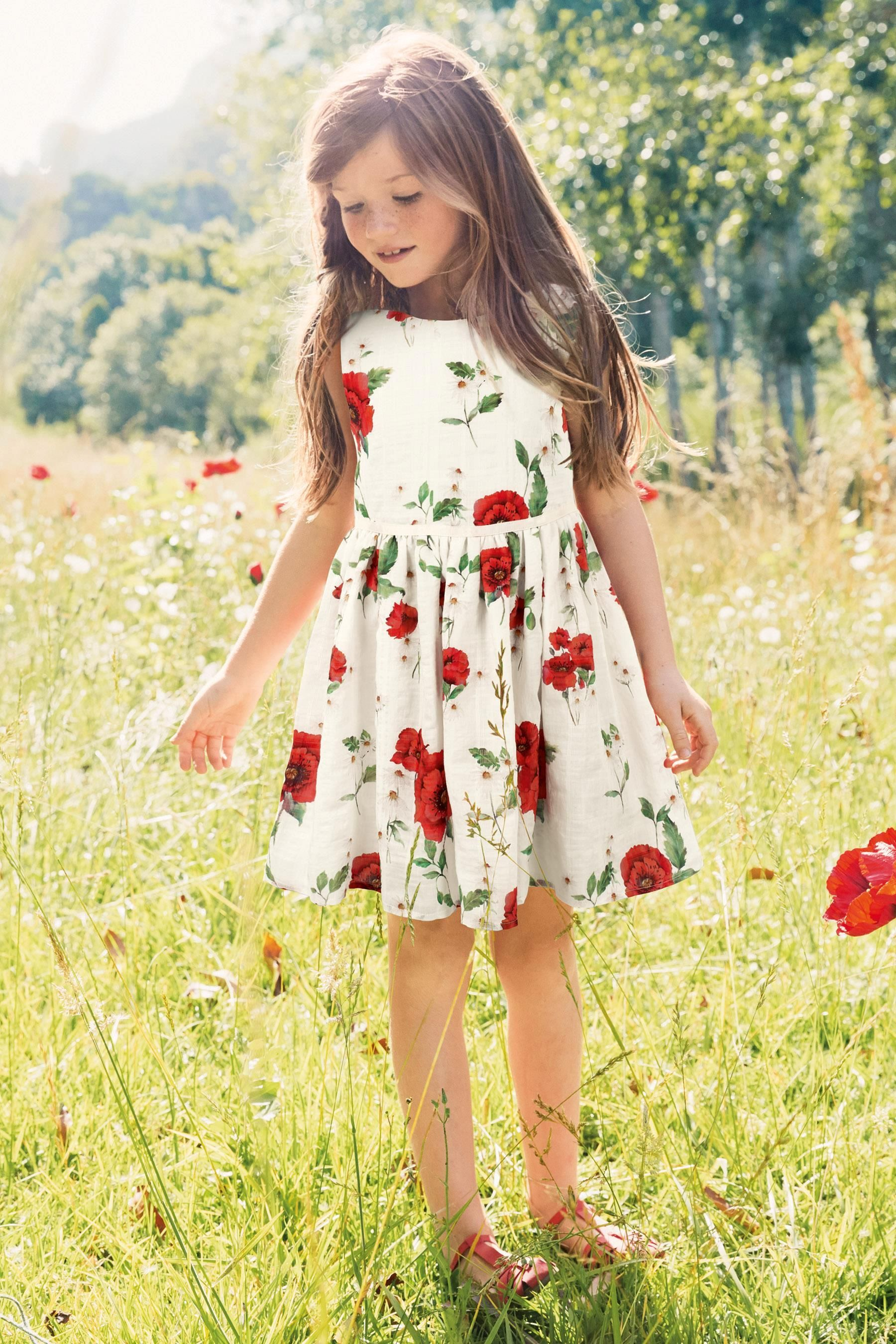 White and red poppy print prom dress yrs from the next uk