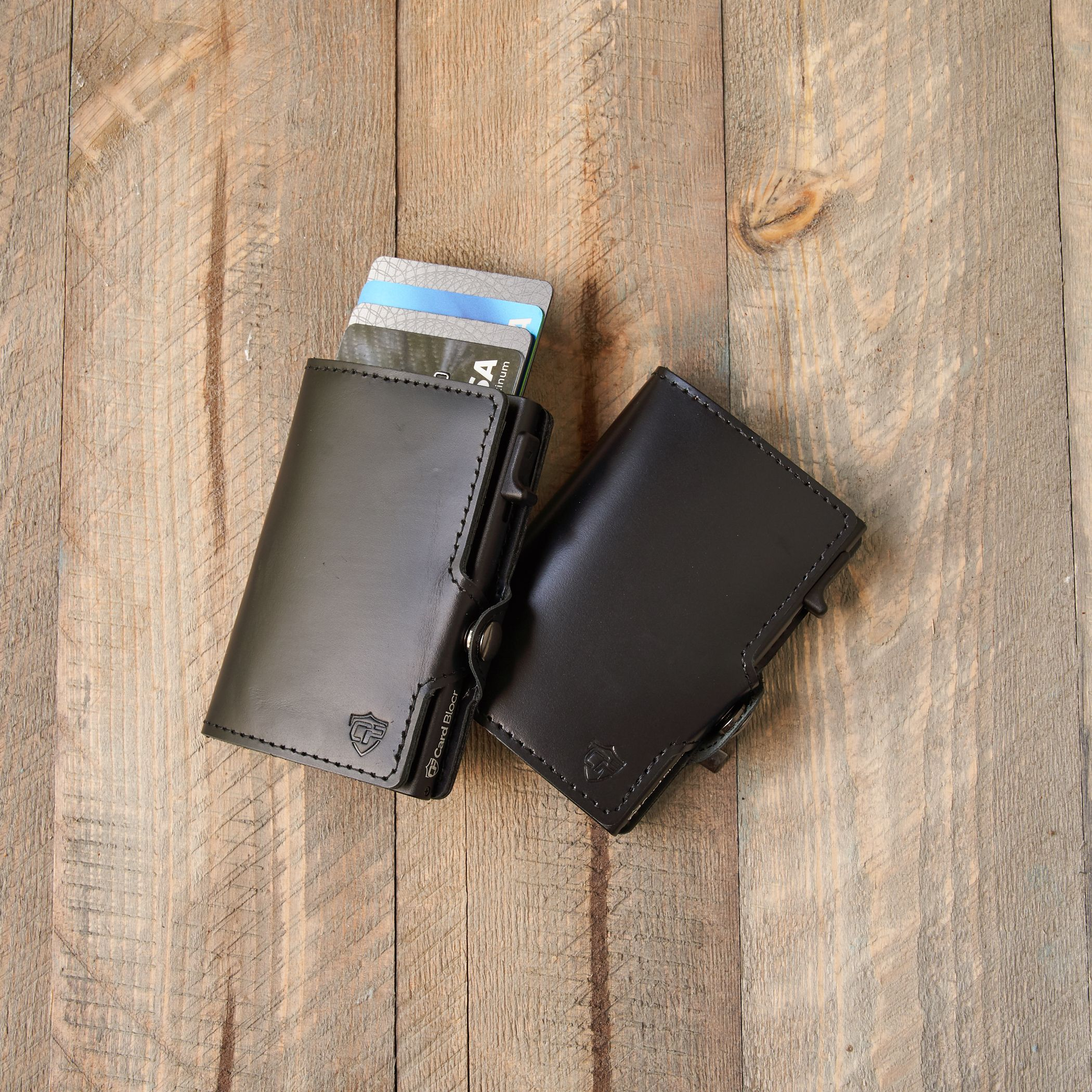 Card blocr credit card wallet black leather and black