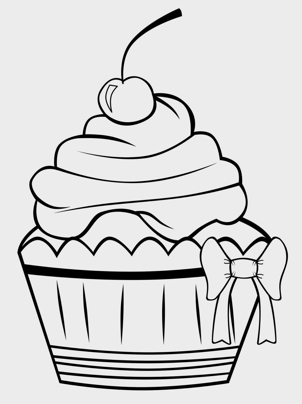 Birthday Cupcake Coloring Page Buku Mewarnai Lembar Mewarnai
