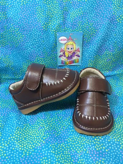 afd6c9451 Boys brown leather squeaky shoes - solid color - squeakers sneakers ...
