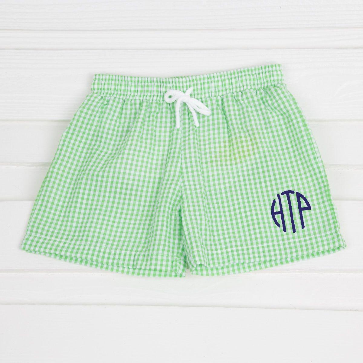 d0117da176 Cotton blend seersucker. *NOT LYCRA* Mesh lined. Tie waist band.  #smockedauctions #boysfashion #summer #swim #green #seersucker #gingham  #monogram #trunks # ...