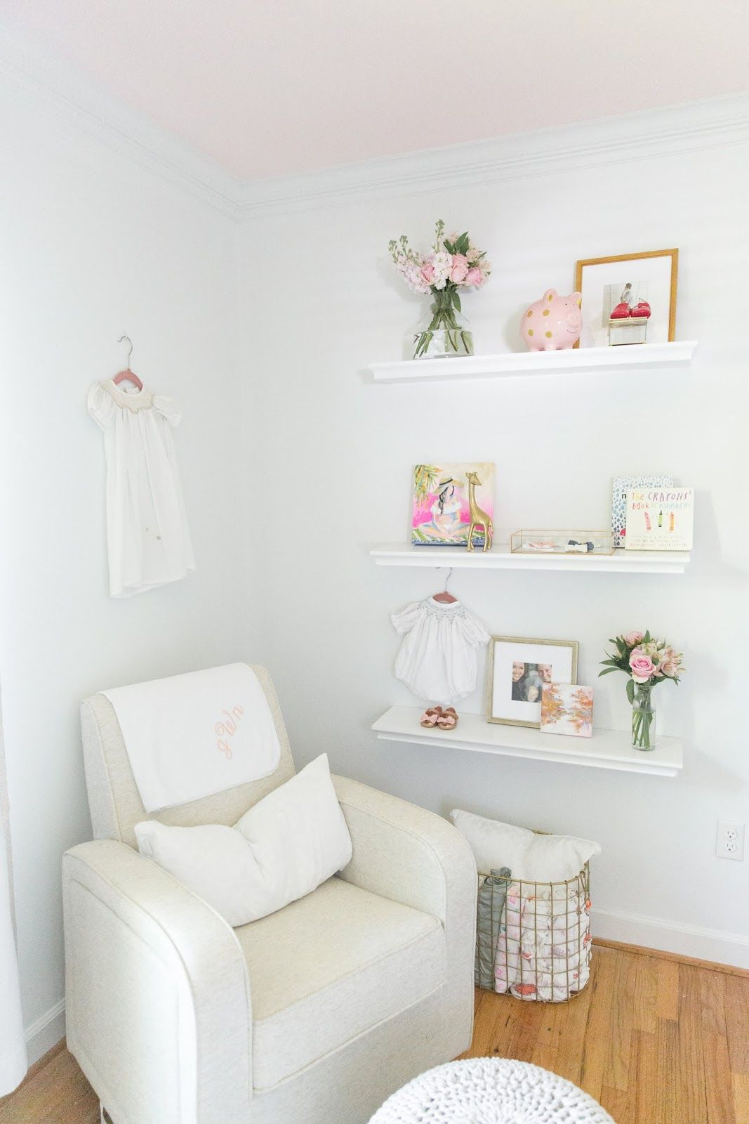 Baby Girl S Nursery Reveal Nursery Shelves Baby Girl Nursery Decor Vintage Girl Nursery
