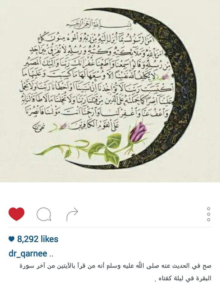صح في الحديث عنه صلى الله عليه وسلم أنه من قرأ باﻵيتين من آخر سورة البقرة في ليلة كفتاه Holy Quran Quran Divine