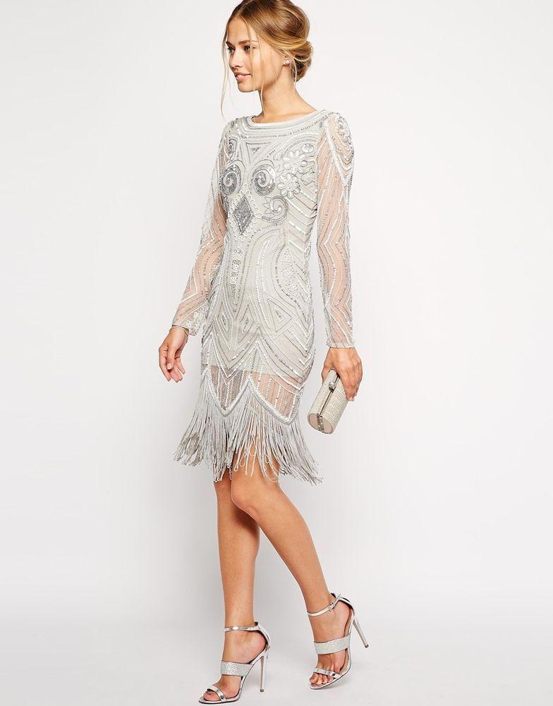 SILVER CHARLESTON FLAPPER uk 10 14 GATSBY dress 20 s TASSEL FRINGE ... 7fa496f49d3c
