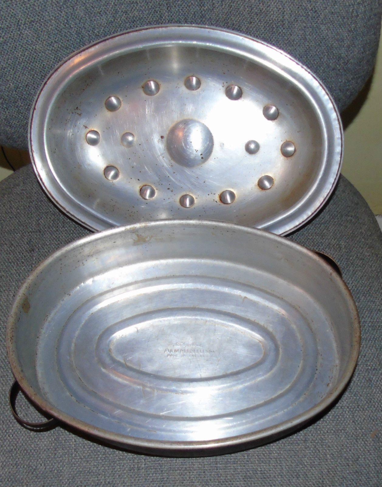 Vintage Skyline Aluminium Shabby Retro Large Oven Roaster Cooking