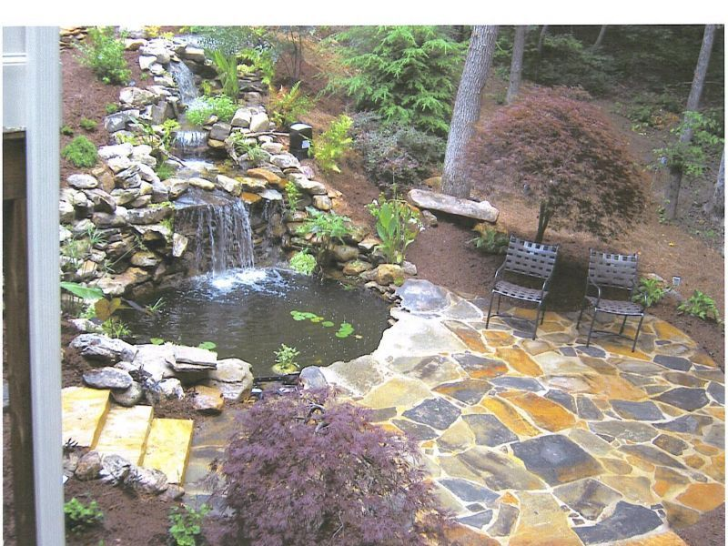 Waterfall And Pond With Flagstone Patio