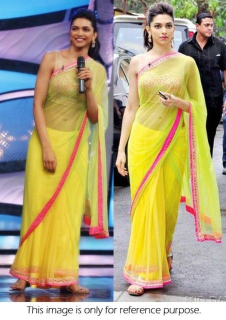 15d8966597 Bollywood Style Deepika Padukone Net Saree in Neon Green color in ...