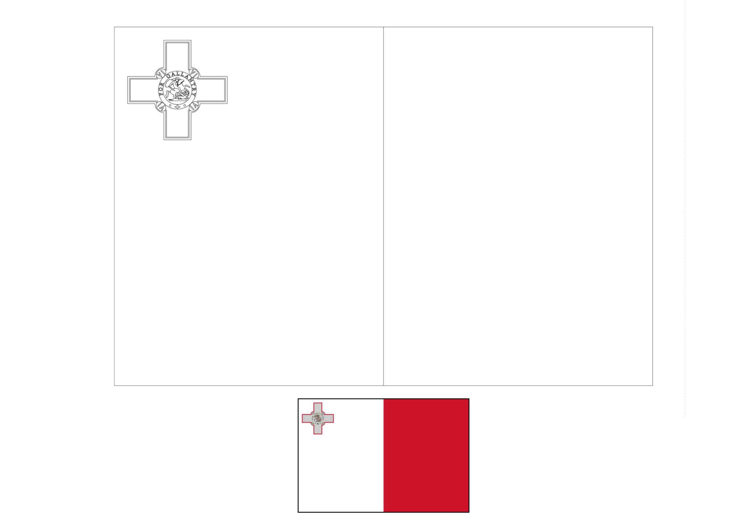 Malta Flag Coloring Page In 2020 Flag Coloring Pages Coloring Pages