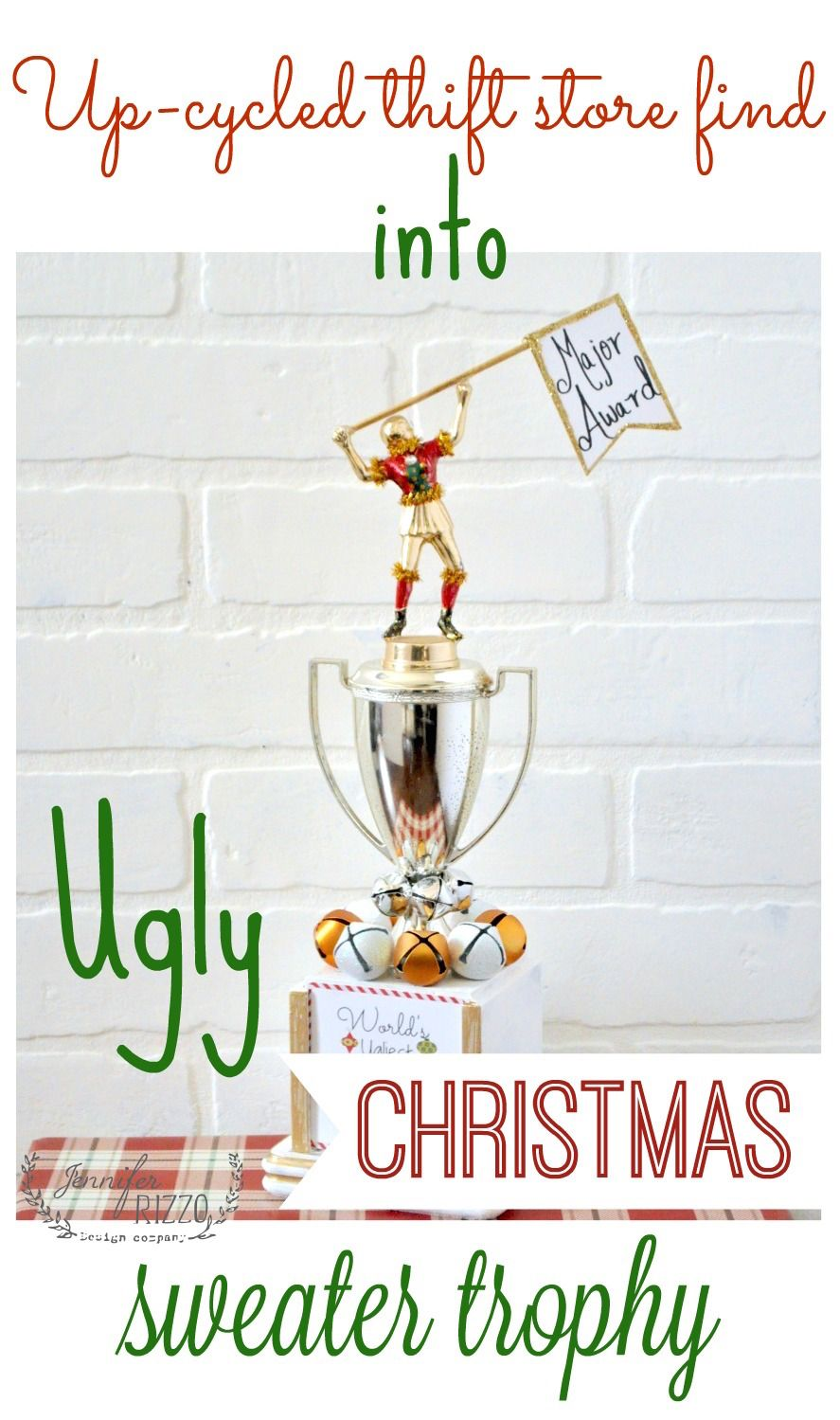 Make an ugly Christmas sweater trophy out of a thrift store trophy