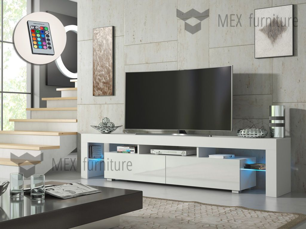 modern tv unit 200cm cabinet stand white matt and white high gloss door free led