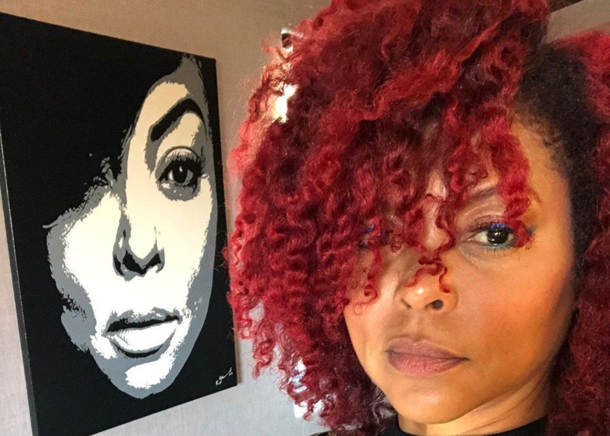 Taraji P. Henson Shows Off Ruby Red Hair Color In New