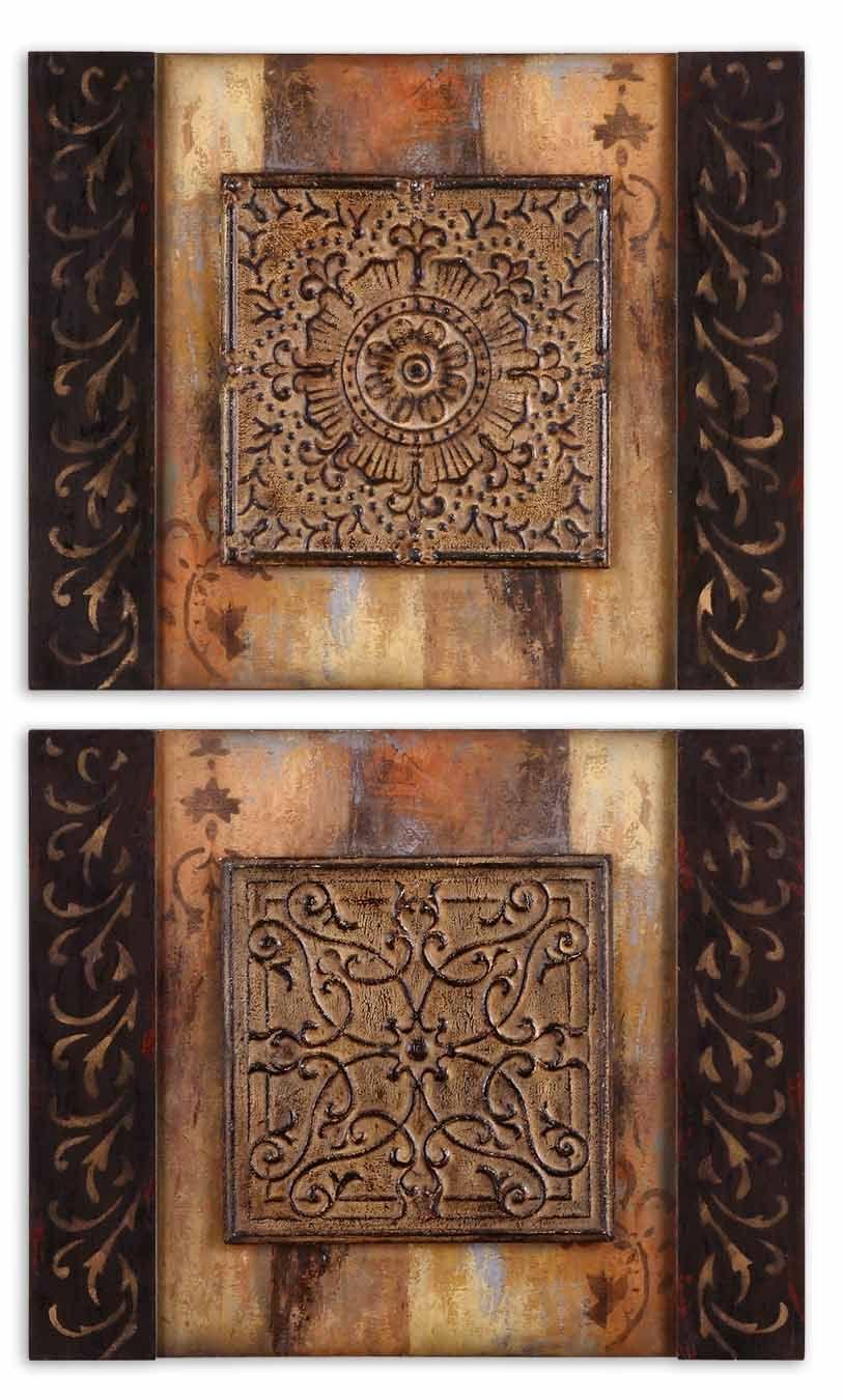 Metal Wall Art Set Of 2 Ornamentational Block Art Set Of 2  Block Art And Traditional